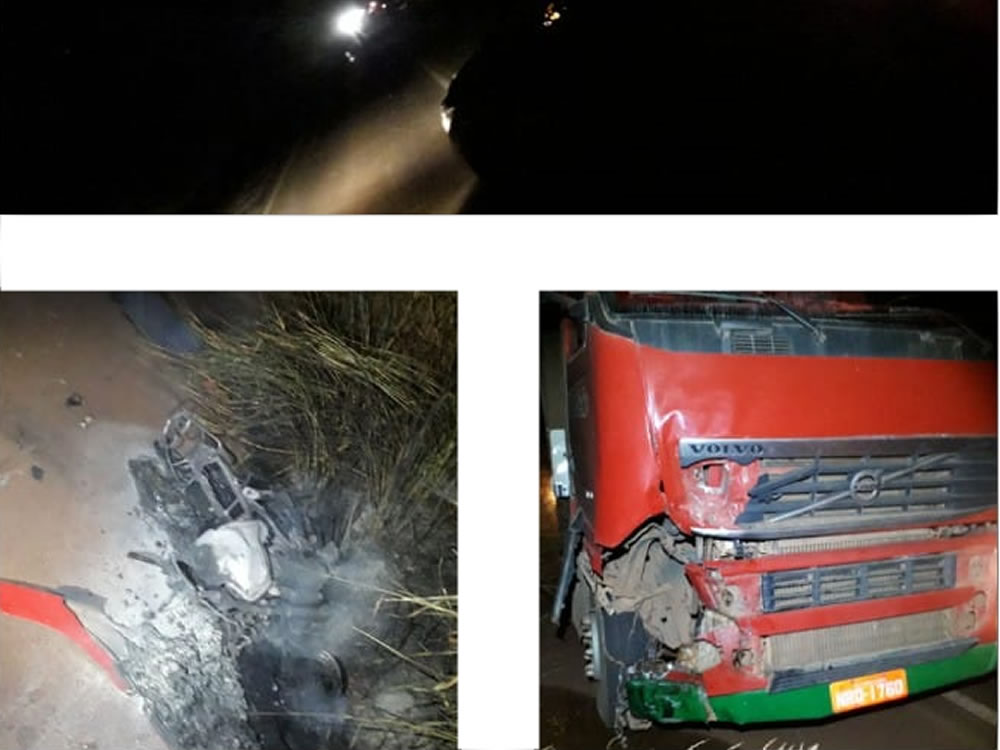 Imagem de Batida entre caminhão e moto deixa um homem morto