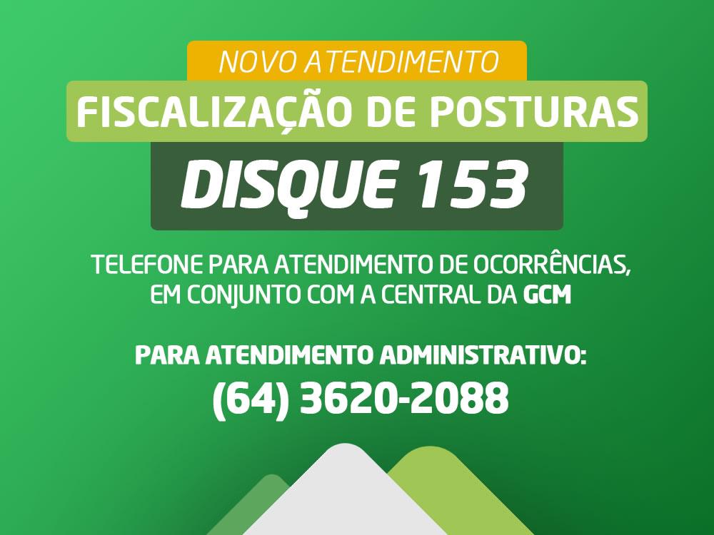 Imagem de Fiscalização de posturas terá atendimento pelo telefone 153