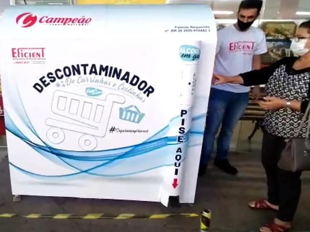 Imagem de Supermercado Campeão instala cabine de desinfecção para carrinhos de compras
